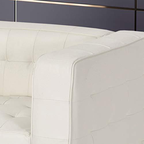 Laura Modern Glam Leather Cube Club Chair, White and Chrome - 4