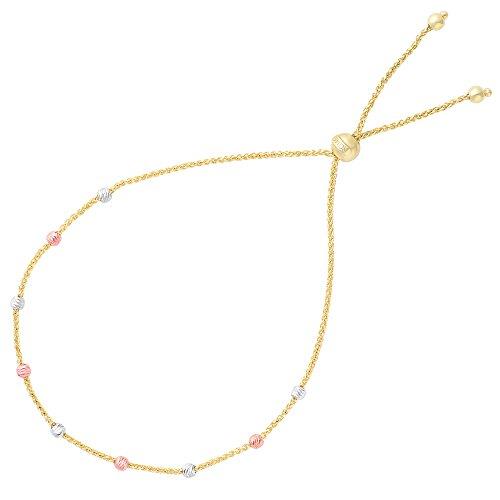 Diamond Cut Multi Color Round Bead Station Bolo Friendship Adjustable Bracelet In 14K Gold, 9.25