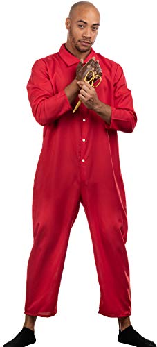 Halloween 2019 Coveralls (Red Jumpsuit, Foam Gold Scissors, Glove | Halloween Horror Movie Jump Suit Cosplay)