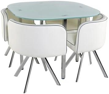 Table 4 Chaises Melo Blanc Amazon Fr Cuisine Maison