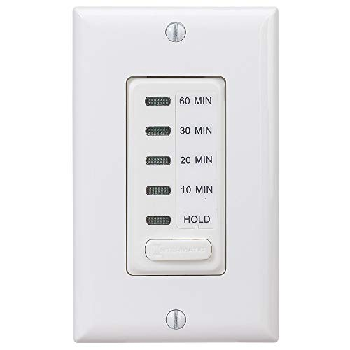Bathroom Fan Timer Switch - Intermatic EI210W Auto Shut-Off In-Wall Timer, 120 V, 15 A, 10, 20, 30, 60 Min, 10/20/30/60 Minute, White