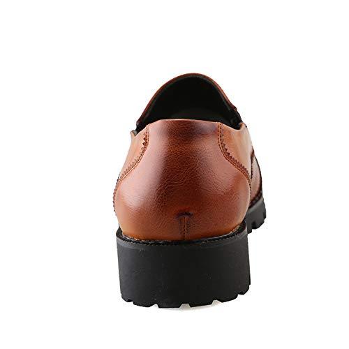 Uomo Tinta Punta Cricket Oxford Brogue con Business Casual a Marrone Color Casual da Scarpe da Unita Scarpe Antiscivolo RvYYqE