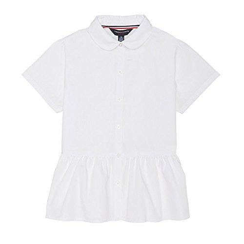 French Toast Girls' Big Short Sleeve Peplum Blouse, White, (Poplin Short Sleeve Blouse)