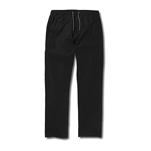 Volcom Big Boys Riser Comfort Elastic Waist Chino Pant, Black, Large