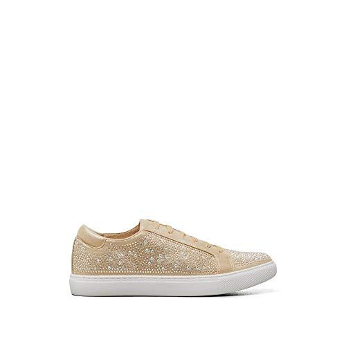 Kenneth Cole New York Women's Swarovski Crystal Studded Sneaker-Techni-Cole 37.5 Lining, Gold, 9 Medium US