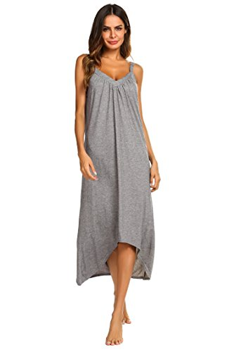 Ekouaer Womens Sleeveless Long Nightgown Summer Slip Night Dress Cotton Sleepshirt Chemise, A-flower Grey_6696, X-Large