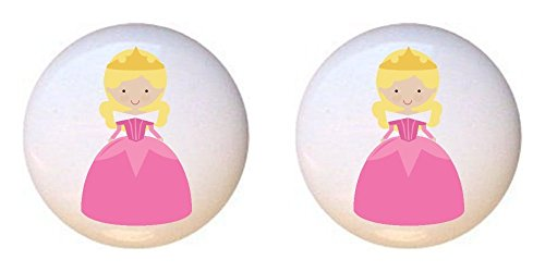 SET OF 2 KNOBS - Aurora Blond Princess in Pink - Fairy Tale Princess - DECORATIVE Glossy CERAMIC Cupboard Cabinet PULLS Dresser Drawer - Aurora Outlet In