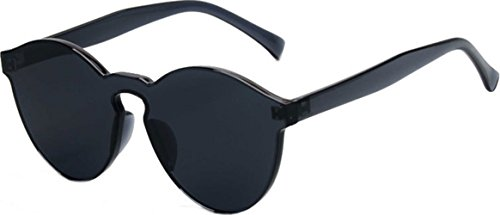 (J&L Glasses Transparent Rimless Ultra-Bold Candy Color sunglasses (Black, clear))