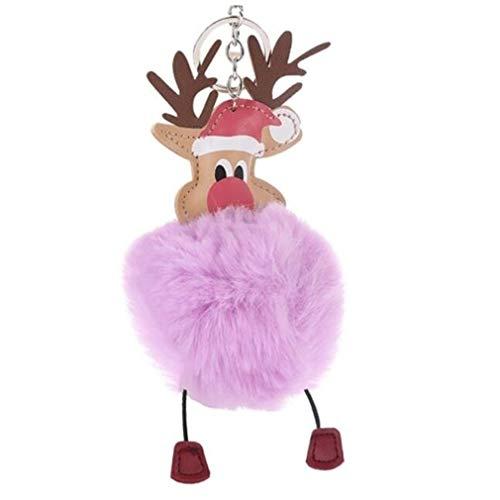 NIKOLay Santa Rex Imitation Fur Ball Fur Ball Keychain Christmas Gift Bag Pendant Car Ornaments Reindeer Fur Ball,Citron Purple ()