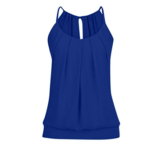 Halter Shirt Empire Top (Women Blouse Summer Tank Loose Wrinkled O Neck Cami Tops Vest)