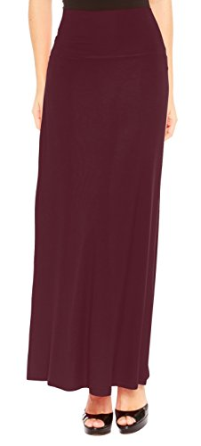 Red Hanger Women's Stylish Solid Long Maxi Skirt - Made in USA, Burgundy-2X (Skirt Straight Wool)