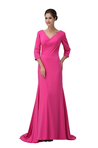 VogueZone009 Womens V-neck 3/4 Length Sleeve Pongee Formal Dress, ColorCards, 16 by VogueZone009