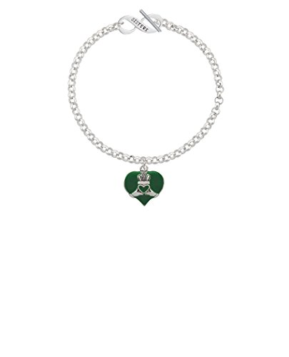 Silvertone Large 2-D Claddagh on Green Heart Sisters Infinity Toggle Chain Bracelet, 8