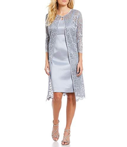 Jessica Howard Women Glitter Lace 2-Piece Jacket Dress, Silver