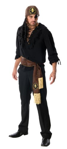 Rubie's Costume Heroes And Hombres Adult Swashbuckler Pirate Shirt And Eye Patch, Black, Standard (Easy Halloween Costumes Men)