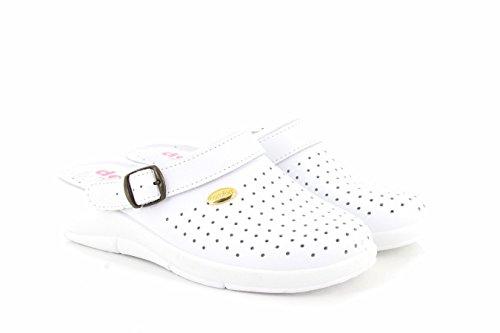 San Malo JANETTE Ladies Leather Mule Clogs Sandals White White iAyI4pR