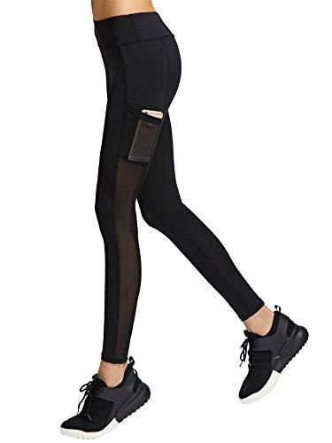 SweatyRocks Women's Mesh Workout Sport Pants Running Yoga Leggings with Pocket Black M (Suits Women Workout)