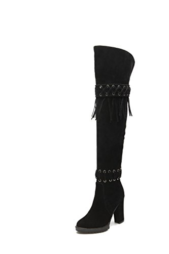 Heels Black Boots on Toe Round Frosted High Pull Solid Closed Women's AgooLar 4nEUpp