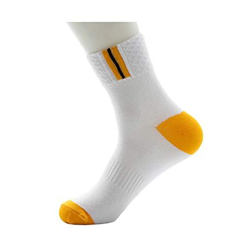モンク怪しい動的コットン - ミドルチューブ - デオドラント - 汗 - 通気性 - 良好な弾力性 - ソックス (色 : White+yellow)