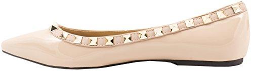 Pointe Femmes Flats Vernis Flesh Elara Rivets Chaussures Ballerines Classique FYT4p