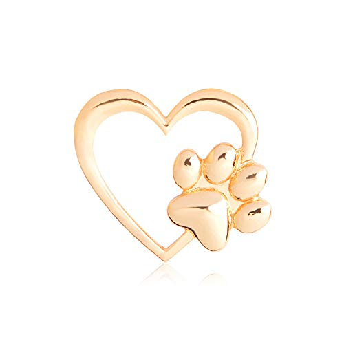 (MIXIA Cat Dog Pawprint Pin for Women Cute Heart Puppy Pet Footprint Memorial Brooch Animal Badge Gift)