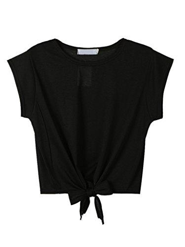 Choies Women's Cotton Black Summer Tie Front Short Sleeve Round Neck Crop Top, Medium