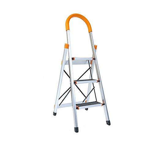 XSJZ Mini Folding Ladder, 3 Steps Widening Pedal Aluminum Alloy Ultra Light Anti-Skid Folding Telescopic Ladder Climbing Ascending Stairs Folding Ladder