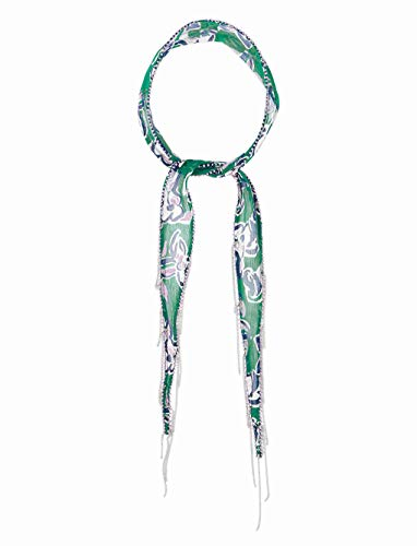 Chan Luu Floral Skinny Scarf with Chain Fringe in Verdant Green ()
