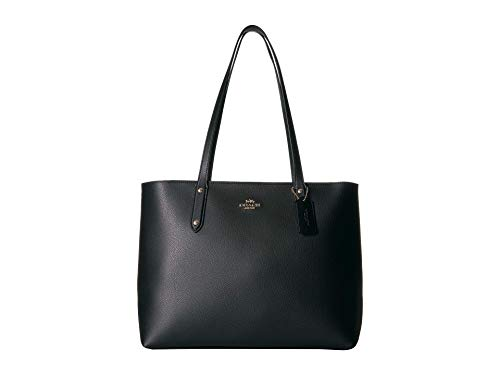 COACH Women's Polished Pebble Leather Central Tote with Zip Black/Gold One Size
