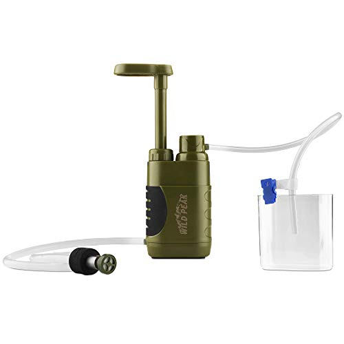 Wild Peak Stay Alive-3 Outdoor Tactical 4-Stage Water Filter Emergency Pump with Activated Carbon for Survival, Camping, Hiking, Climbing, Backpacking 5000 Liters