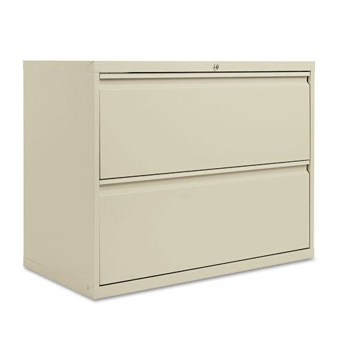 Two-Drawer Lateral File Cabinet, 36w x 19-1/4d x 29h, Putty by ALERA (Catalog Category: Furniture amp; Accessories / File Cabinets)