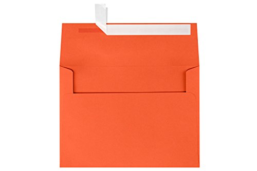 "Envelopes 80lb A7 Peel and Press Invitation Envelope, 5.25"" x 7.25"", Tangerine, 50 Count (EX4880-26-50)"