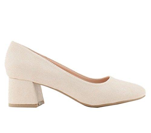 SHU CRAZY Womens Ladies Faux Suede Low Block Heel Slip on Dressy Pumps Court Shoes - N4 Beige QUdkxef