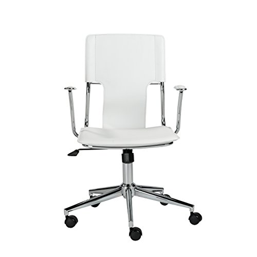 Euro Style Terry Adjustable Office Chair, White Leatherette with Chrome Frame
