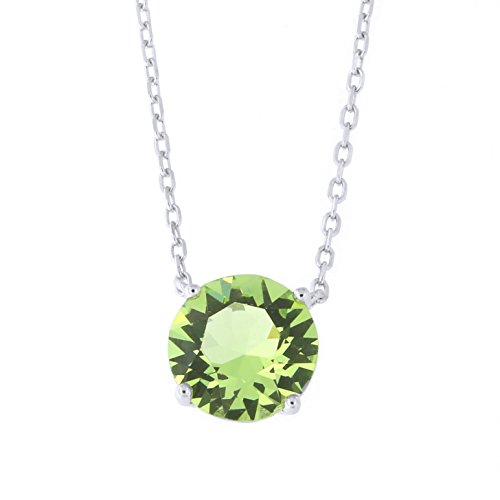 Sterling Silver Rhodium Plated 8mm Crystal Simulated Peridot Solitaire Pendant Necklace, - Sterling Peridot Plated 8mm