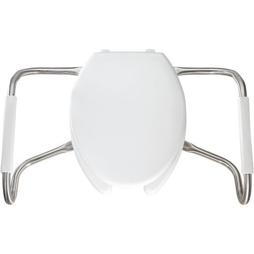 Bemis MA2150T 000 Medic-Aid Plastic Open Front Toilet Seat with Cover and Safety Side Arms, Elongated, White by Bemis