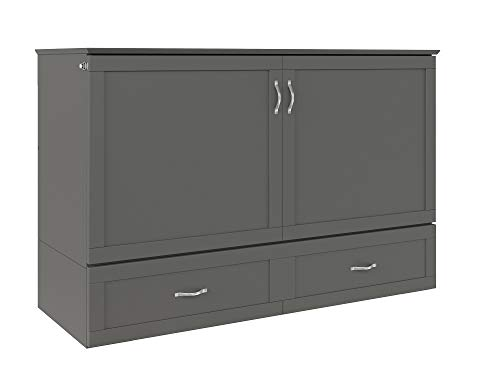 Atlantic Furniture Hamilton Murphy Bed Chest with Charging Station & Mattress, Queen, Grey