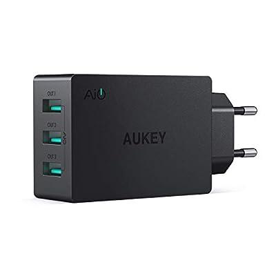 AUKEY Caricatore da Muro con 3 Porte 30W 6A Caricatore USB con AiPower per iPhone XS / XS Max / XR, iPad Air/Pro, Samsung, HTC, LG, Nexus, Tablet ecc.