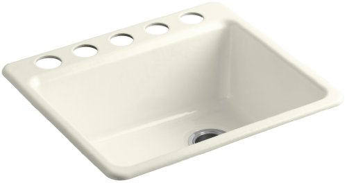 - KOHLER K-5872-5UA1-96 Riverby Single Bowl Undermount Kitchen Sink with Five Holes and Bottom Basin Rack, Biscuit