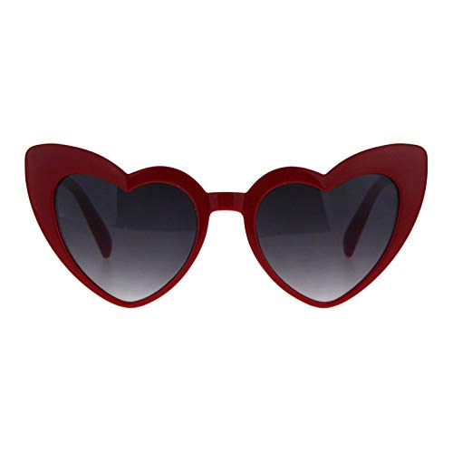 Magik Women Lovely Heart Shape Over-sized Sunglasses Halloween Cat Eye Retro Sun Glasses UV400 (Burgundy Frame 1 Pack, Gray Lens)