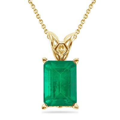 - 0.15-0.38 Cts of 5x3 mm AA Emerald Cut Natural Emerald Scroll Solitaire Pendant in 14K Yellow Gold