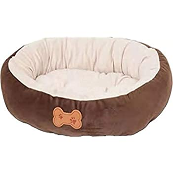 Aspen Pet Oval Cuddler Pet Bed for Small Breeds 20-inch by 16-inch Chocolate Brown