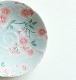 Decorative Made In Japan SAKURA floral ceramic dessert plate dish porcelain tableware snack fruit plate kitchen 5 inch (5 inch, Blue)