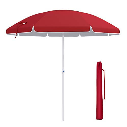 SONGMICS 7ft Fiberglass Beach Umbrella, Heavy Duty Outdoor Sports Umbrella, Sun Shade with Tilt Mechanism, Carry Bag - for Beach, Gardens, Balcony and Patio Red UGPU07RD