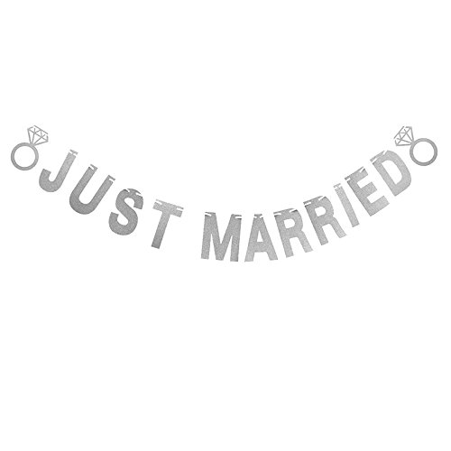 Just Married Wedding Banner, Glitter Letter Banner Hanging