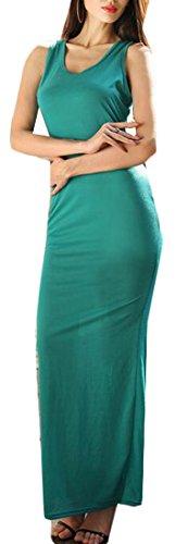 Dress Sleeveless Sexy Maxi Bodycon Women Light Solid Scoop Tank Neck Jaycargogo Green HwWzEqcFE