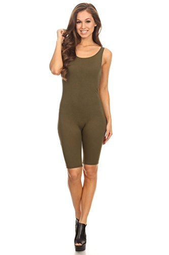 Women's Sleeveless Stretch Bodycon Skinny Solid Sport Short Unitard Romper Jumpsuits Olive Large
