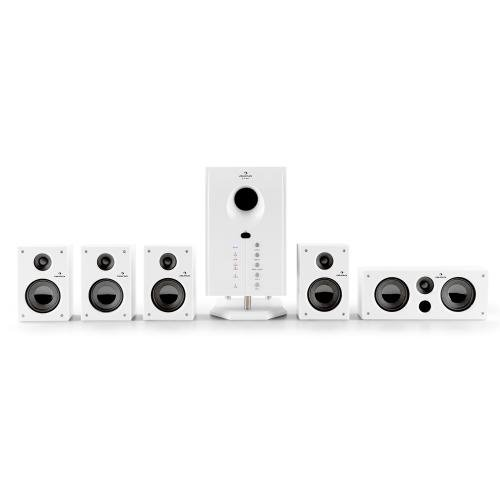 Auna Areal 525 Wh aktives 5.1-lautsprecher Set Lautsprechersystem (95W RMS, AUX, Sleep Modus, Fernbedienung) weiß