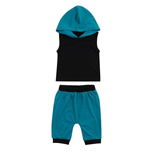rls, Newborn Baby Boys Girls Solid Black Print Hooded Vest Tops+Blue Pants Set Outfits Clothes (0-6 Months, Black) ()