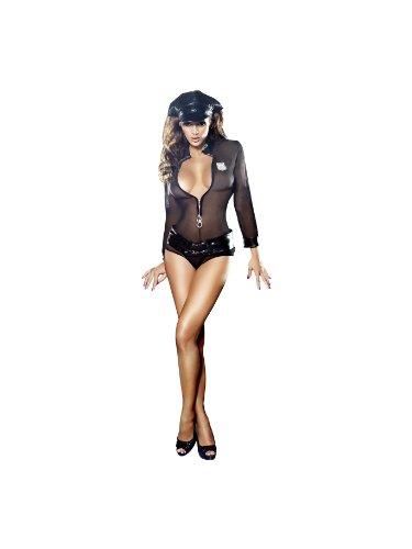 Yandy Lady Cop Costume (Baci Lingerie Women's Dreams Police Chemise, Panty, Belt, Badge and Headwear Set, Black, Medium/Large)